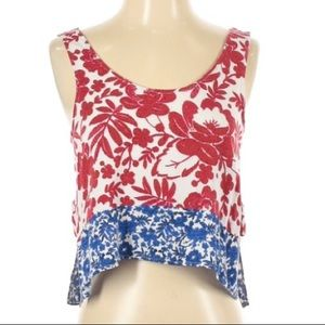 Top Shop Crop Top Red White & Blue Tank, size 2